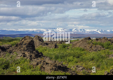 Dimmuborgir - a rock town near the Lake Myvatn in northern Iceland with volcanic caves, lava fields and rock formations - Stock Photo