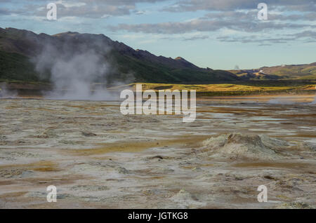 Hverarond geothermal field in Iceland. This is a field in Krafla caldera area near Mvatmn Lake which is full of - Stock Photo
