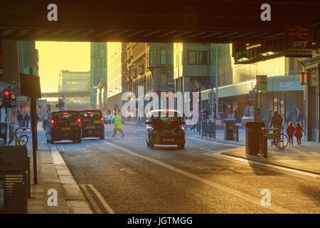 Hielanman's highlander's  Umbrella railway bridge of Glasgow Central station, Argyle Street most polluted spot in - Stock Photo