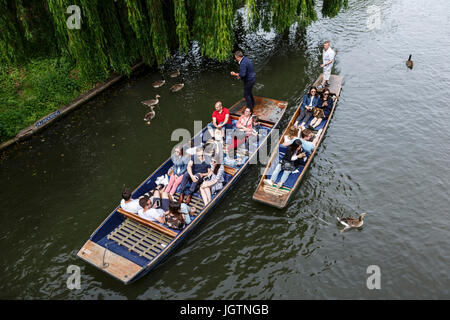 People punting on the River Cam, Cambridge, Cambridgeshire, England, United Kingdom - Stock Photo