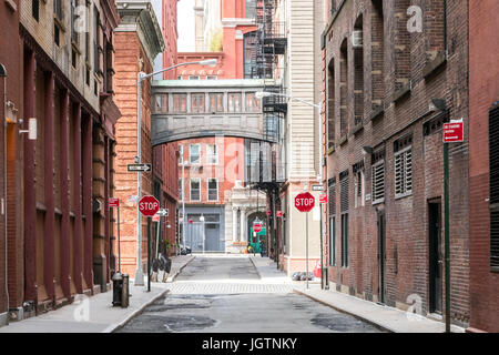 Buildings at the intersection of Staple Street and Jay Street in the historic Tribeca neighborhood of Manhattan, - Stock Photo