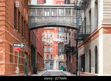 Hidden alley scene on Staple Street in the historic Tribeca area of Manhattan, New York City NYC - Stock Photo