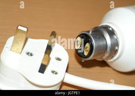 domestic electrical system, light bulbs and plugs - Stock Photo