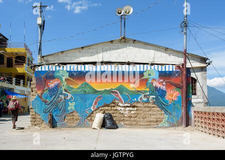 An abandoned building with graffiti in a village, Atitlan  Guatemala - Stock Photo