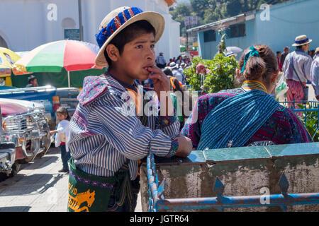 Street life in Todos Santos Cuchumatán, Indigenous boy wears traditional clothing. Guatemala - Stock Photo