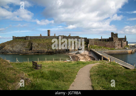 View of Peel castle in Peel on The Isle of man. - Stock Photo