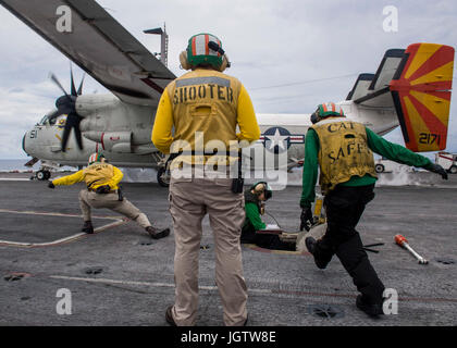 170706-N-TJ319-254   ATLANTIC OCEAN (July 6, 2017) A C-2A Greyhound attached to the Rawhides of Fleet Logistics - Stock Photo
