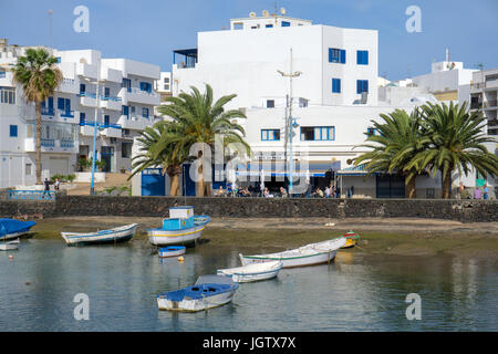 Charco San Gines, lagoon with fishing boats, at Arrecife, Lanzarote island, Canary islands, Spain, Europe - Stock Photo