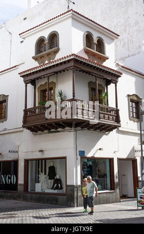 Typical canarian town house with wooden balconies, city of Arrecife, Lanzarote island, Canary islands, Spain, Europe - Stock Photo