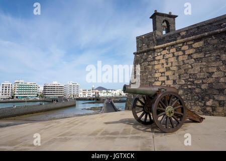 Cannon at the fortress Castillo de San Gabriel, Arrecife, Lanzarote island, Canary islands, Spain, Europe - Stock Photo