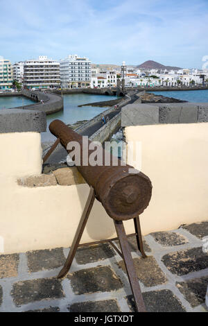 Cannon on top of fortress Castillo de San Gabriel, Arrecife, Lanzarote island, Canary islands, Spain, Europe - Stock Photo
