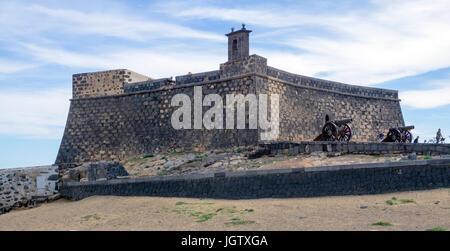 Fortress Castillo de San Gabriel, Arrecife, Lanzarote island, Canary islands, Spain, Europe - Stock Photo