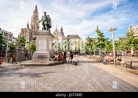ANTWERPEN, BELGIUM - June 02, 2017: View on the crowded Green square with Rubens statue and church in Antwerpen - Stock Photo
