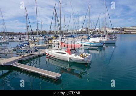 Mooring at Puerto de Naos, marina at Arrecife, Lanzarote island, Spain, Canary islands, Europe - Stock Photo