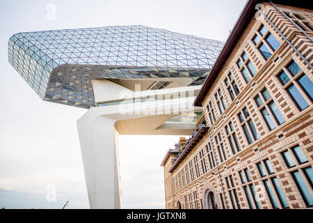 ANTWERPEN, BELGIUM - June 02, 2017: View from below on the Port House building designed by Zaha Hadid architect - Stock Photo