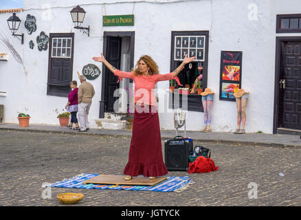 Flamenco dancer (woman) dancing at street, weekly sunday market at Teguise, Lanzarote island, Canary islands, Spain, - Stock Photo