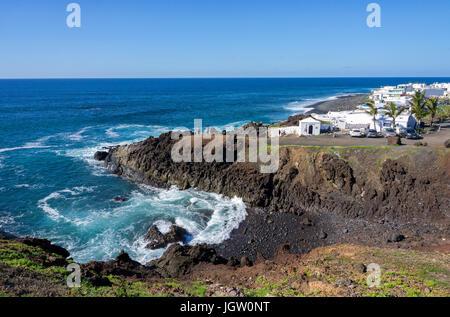 Fishing village El Golfo at west coast of Lanzarote island, Canary islands, Spain, Europe - Stock Photo