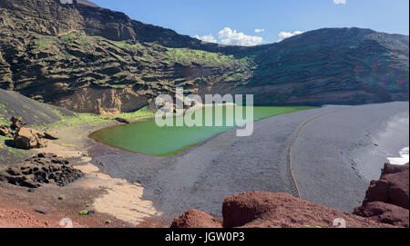 Charco de los Clicos, green lagoon lake at El Golfo, Lanzarote island, Canary islands, Spain, Europe - Stock Photo