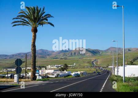 Road from Macher to Uga, Lanzarote island, Canary islands, Spain, Europe - Stock Photo