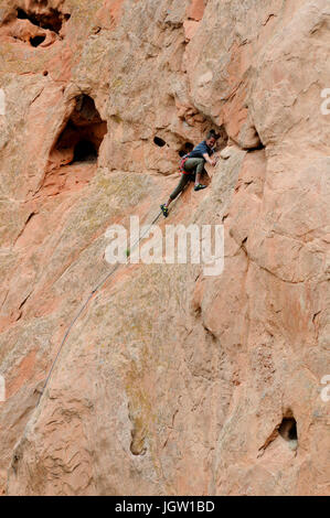 Rock climber at Garden of the Gods, Colorado Springs, Colorado, USA