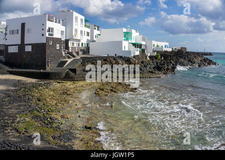 Typical canarian cube houses at Punta Mujeres, fishing village north of Lanzarote island, Canary islands, Spain, - Stock Photo