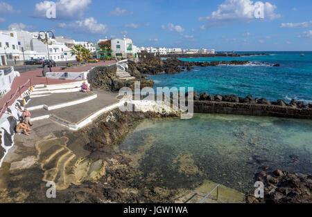 Coast at Punta Mujeres, fishing village north of Lanzarote island, Canary islands, Spain, Europe - Stock Photo