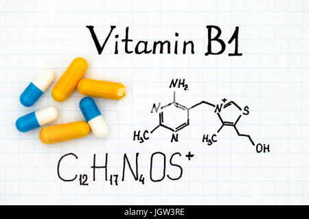 Chemical formula of Vitamin B1 and some pills. - Stock Photo