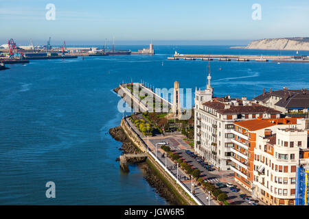 El Abra bay and Getxo pier and seafront. Basque country, The Northern Spain - Stock Photo