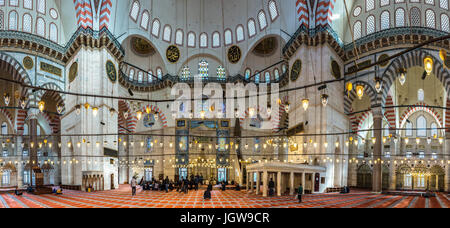 ISTANBUL, TURKEY - MAY 05, 2017:Panoramic Interior view of domes and ceilings of Suleymaniye mosque, largest mosque - Stock Photo
