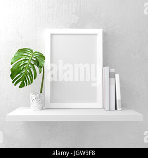 A photo frame mock up on a white shelf. Clean and minimal design. 3D render illustration - Stock Photo
