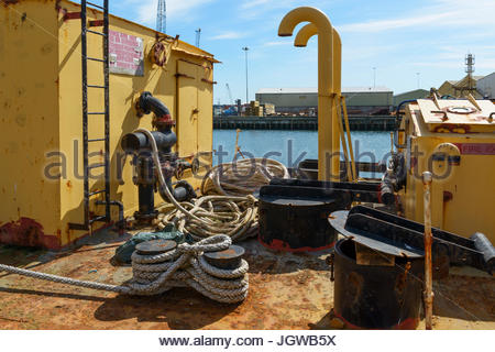 Cargo ship deck, Poole, Dorset, England, UK - Stock Photo