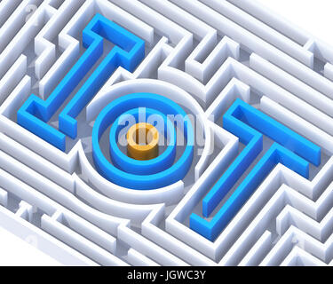 IoT maze graphic. Internet of things concept. 3D rendering image.