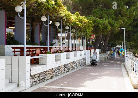 MAKARSKA RIVIERA,CROATIA - 20 JUNE,2017: Outdoor bar with local beer situated on the beach in Dalmatia.Tradiitonal - Stock Photo