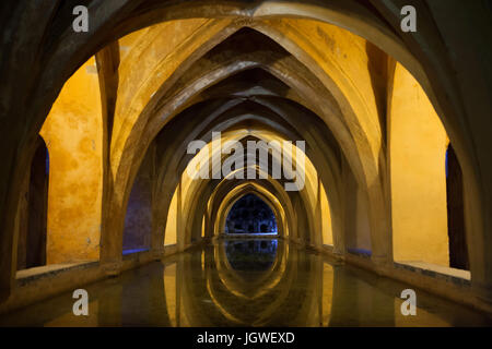 Rainwater tanks dated from the 13th century and known as Los Baños de Doña María de Padilla (Baths of Lady Mary - Stock Photo