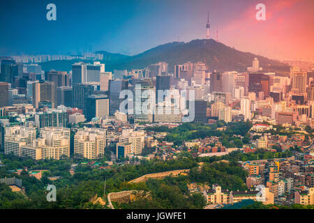 Seoul. Image of Seoul downtown during summer sunset. - Stock Photo