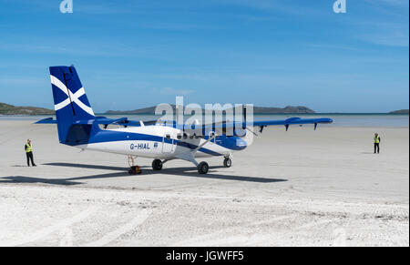 Twin otter aircraft, Barra Airport - Stock Photo