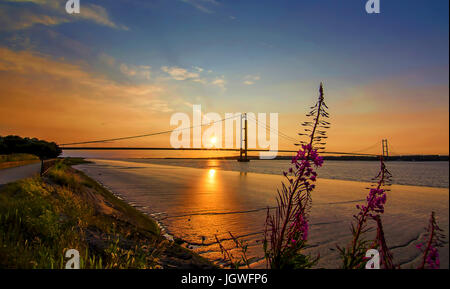 Humber Bridge Sunset - Stock Photo