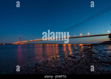 Humber Bridge at night - Stock Photo