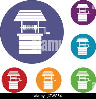 Water well icons set - Stock Photo