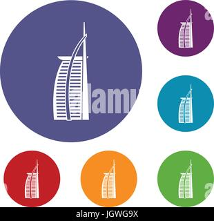 Hotel Burj Al Arab in United Arab Emirates icons - Stock Photo
