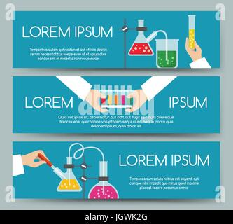 Scientist chemical laboratory working process banner set. Medical research or clinical testing concept headers with - Stock Photo
