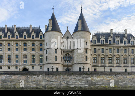 Castle Conciergerie - former royal palace and prison. Conciergerie located on the west of the Cite Island and today - Stock Photo