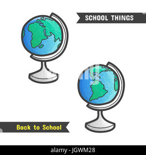 Back to School Supplies, hand drawn icon, isolated on white, cartoon style. Geography symbol, a globe with western - Stock Photo