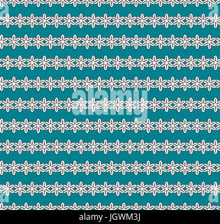 Flowers background, seamless pattern. Black and white flowers arranged in stripes against dark aquamarine color - Stock Photo