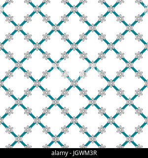 Flowers background, seamless pattern. Black, white and dark aquamarine color. Geometrical flowers, arranged in the - Stock Photo