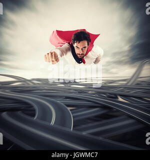 Overcome the difficulties. Concept of success and breakthrough - Stock Photo