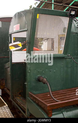 The drivers cab of  narrow gauge train that runs the length of the Hythe Pier carrying passengers to and from the - Stock Photo