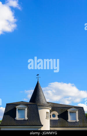 Slate roof of a high standing house with a turret and closed shutters under a blue sky.