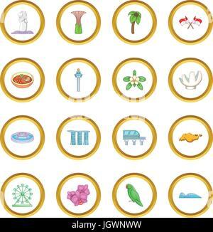 Singapore travel icons circle - Stock Photo