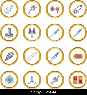 Mechanism parts icons circle - Stock Photo